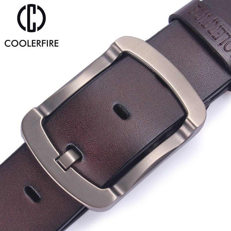 Coolerfire <font><b>2017</b></font> fashion cowhide genuine leather belt men black jeans strap male vintage casual men belts HQ024