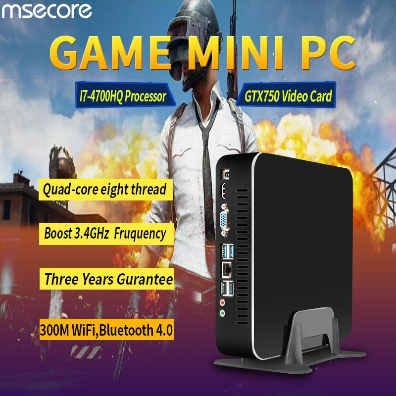 MSECORE Spiel Quad-Core i7 4700HQ GTX750TI DDR5 4G Video RAM Mini PC Windows 10 Desktop Computer Nettop barebone system HTPC WiFi