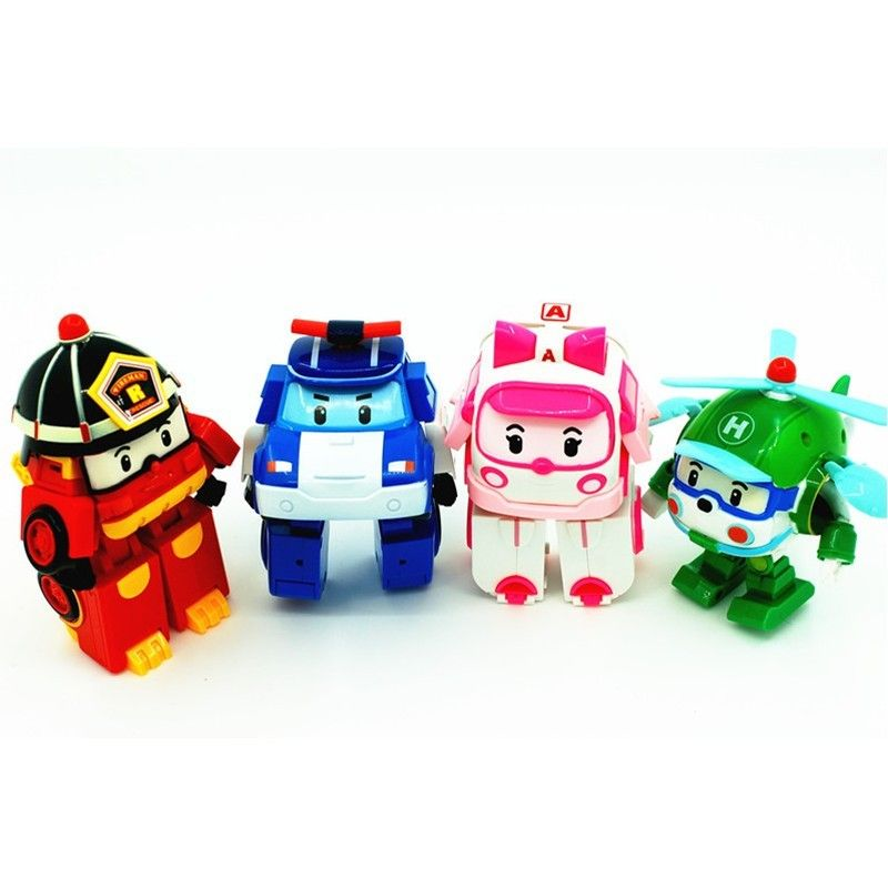 4pcs/lot kids toys robot Transform festival gifts deformation helicopter fire truck police action figure doll boys gifts toy #E