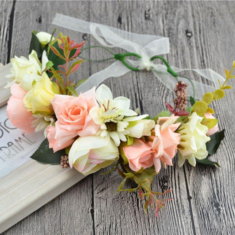 Nuptiale Couronne De Fleurs Femmes Fille Rose Fleur Couronne Réglable 2017 Nouveau Cheveux Accessoires Enfant De Mariage Partie