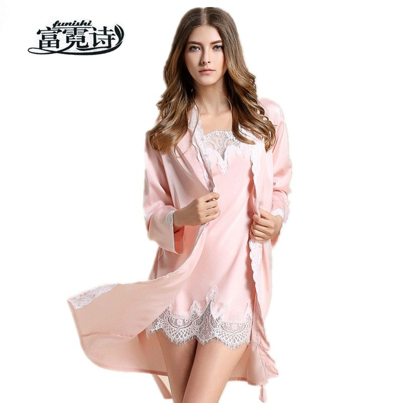 High Quality Satin Faux Silk Wedding Bride Bridesmaid Robe Lace Bathrobe Nightdress Long Sleeved Sleepwear Nightgown For Women