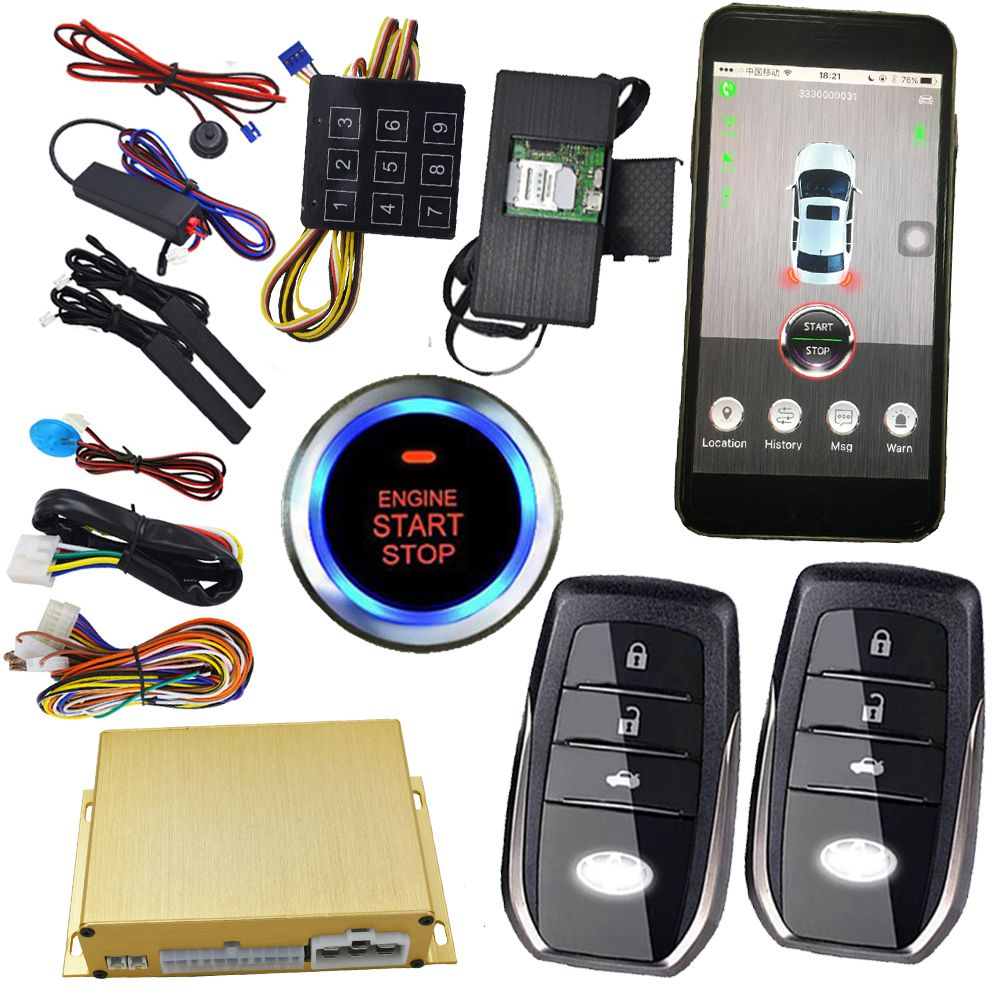 cell phone smart app keyless auto central lock remote start stop engine passcodes emergeny unlock car door gps online location