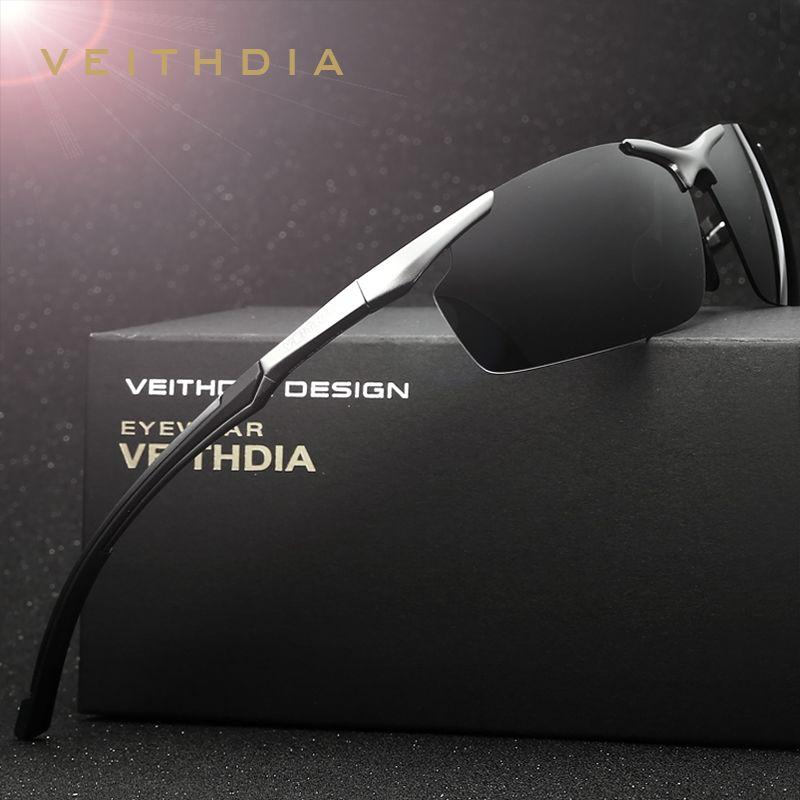 VEITHDIA <font><b>Brand</b></font> Men's Aluminum Magnesium Sun Glasses HD Polarized UV400 Sun Glasses oculos Male Eyewear Sunglasses For Men 6592