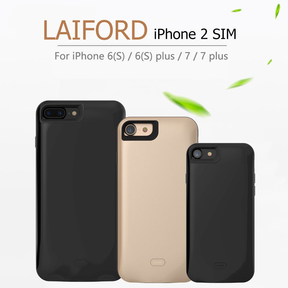 2018 Dual SIM Dual Standby Adaper Rubber frame Long Standby for iPhone6 (s)/6 plus/7/7 plus,8/8plus & 1800/2500 mAh Power Bank
