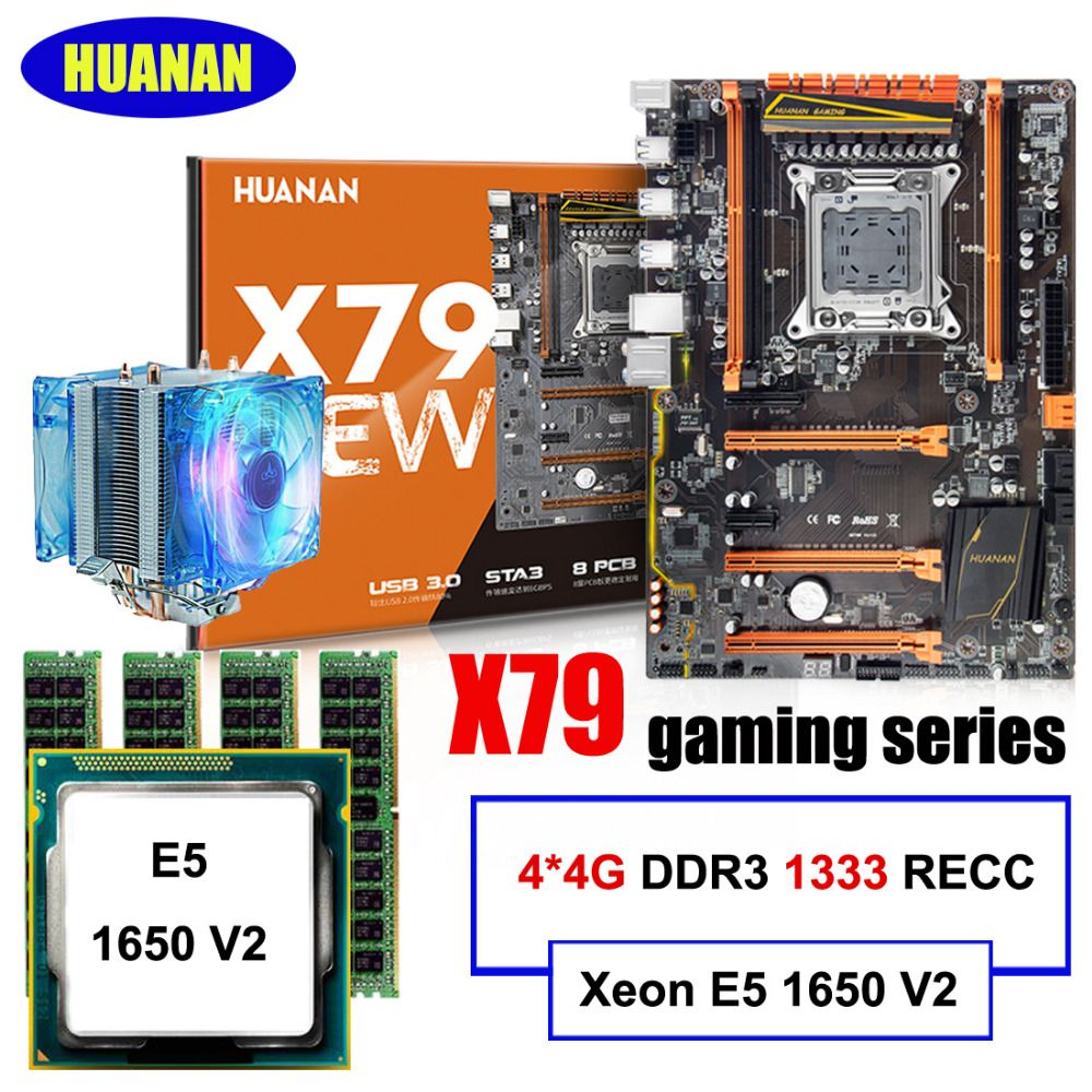 All tested build computer HUANAN DELUXE X79 motherboard Xeon E5 1650 V2 with CPU cooler RAM 16G(4*4G) DDR3 1333MHz RECC