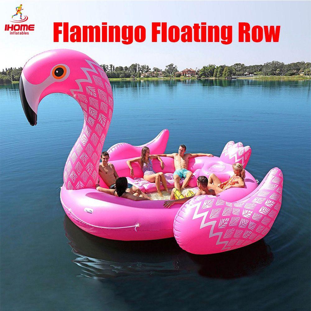 Farbe Gedruckt Riesen Flamingo Pool Float für 6-8persons