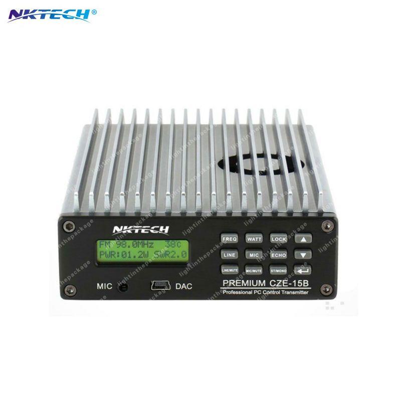 NKTECH CZE-15B Einstellbar 0,3 Watt ~ 15 Watt 87 MHz ~ 108 MHz Mit Pc-steuerung FM-Sender Radio Station Stereo LCD Hintergrundbeleuchtung