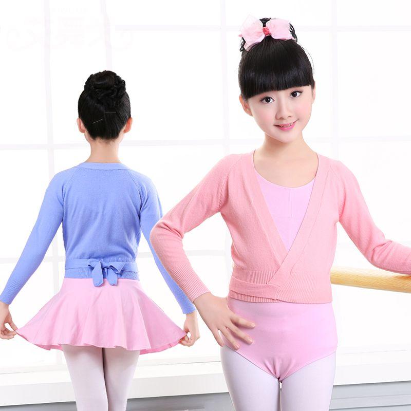 Otoño invierno Cálido Niños Niñas Ballet Danza Wrap Sweater Cardigan Ropa Niños Suéter Caliente de Manga Larga de Cintura