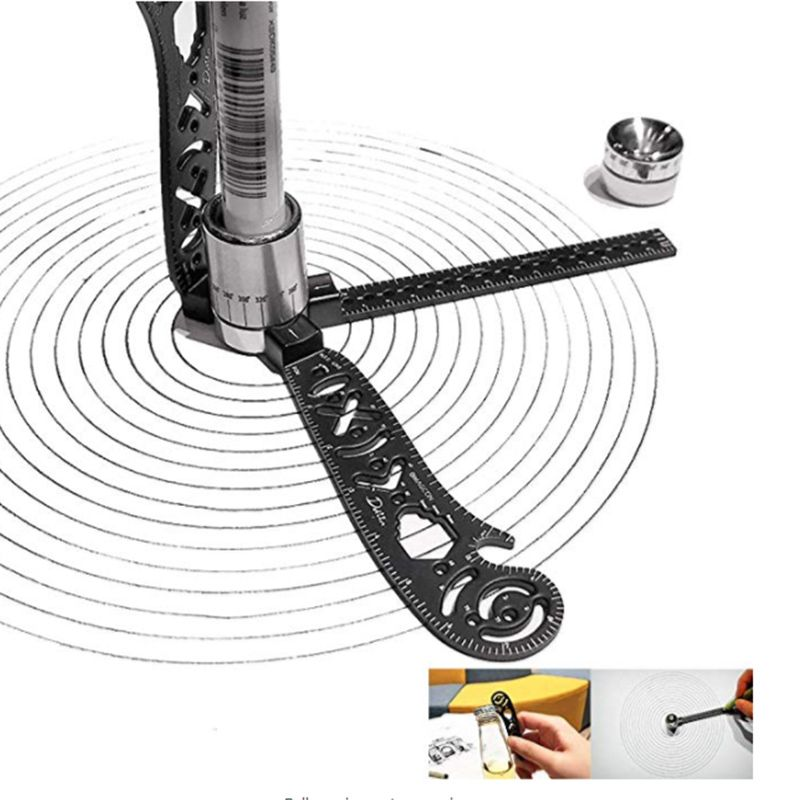 The Most Versatile Magcon Tool Design Drawing Curved Metallic Ruler Mini Compass Protractor Combo Patterns Drop Shipping