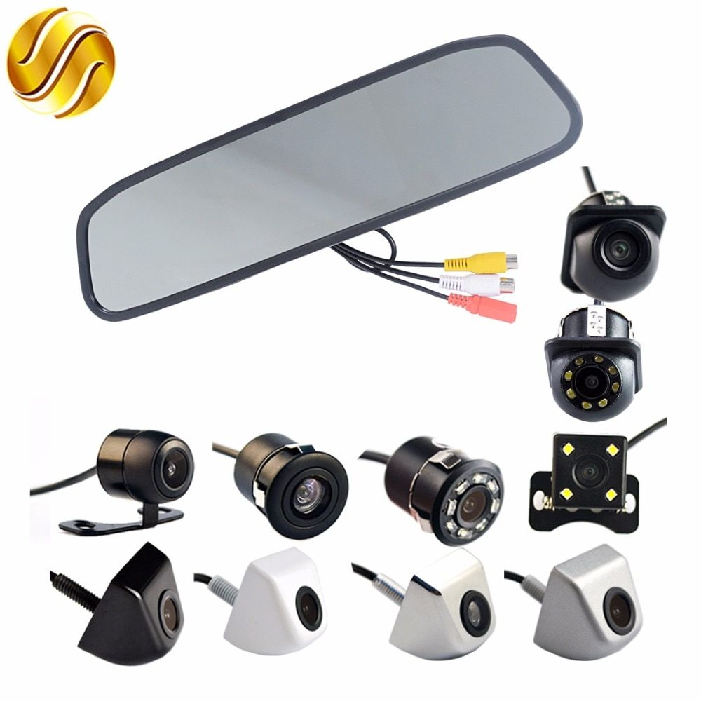 Car Monitor 4.3 Display+ Car Rear View Camera Auto Parking System 4.3 Inch HD Car Mirror Screen170 Degree Waterproof Rear View