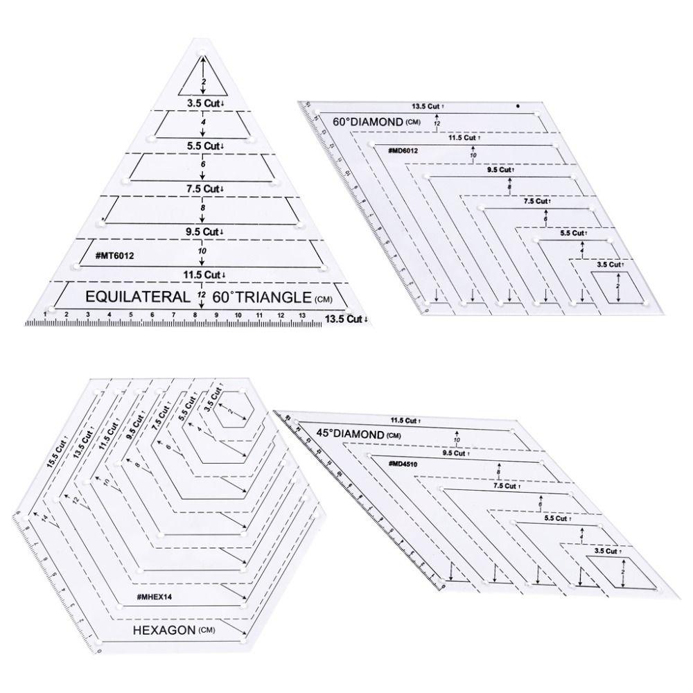 4 pièces/ensemble règle transparente coupe artisanat Patchwork règles de Quilting bricolage outils de couture à la maison