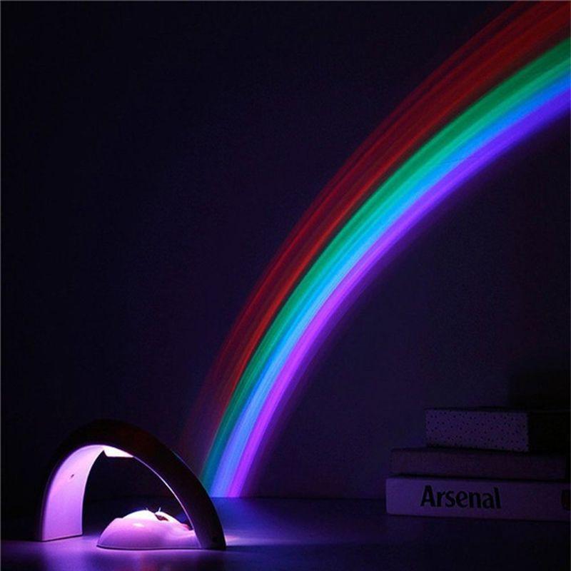 Incroyable coloré LED arc-en-ciel lumière bébé enfants enfants enfant nuit lumière romantique noël projecteur lampe pour dormir chambre