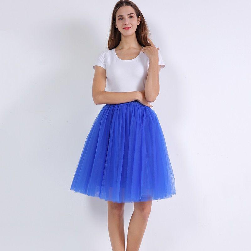 7 couches Tulle jupes femmes taille haute balançoire Dolly robe de bal sous-Jupe maille Tutu 2019 été Jupe Midi Faldas Saias Jupe