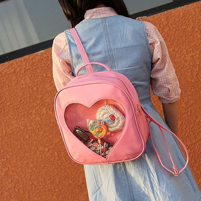 Для женщин сердце любовь Форма Рюкзак плеча Школьные ранцы для подростков Обувь для девочек ITA сумка ПВХ прозрачный корейский Карамельный ц...