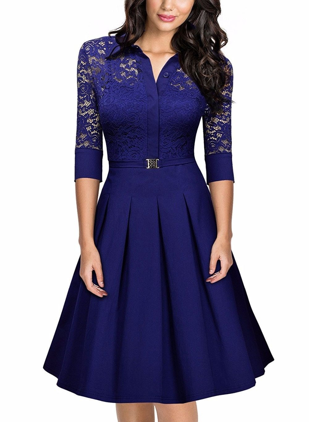 2018 European Fashion Women Lace Party Dress Elegant Dress Suit V-neck Casual Half Sleeve Work Dress Ladies Pleated Party Dreses