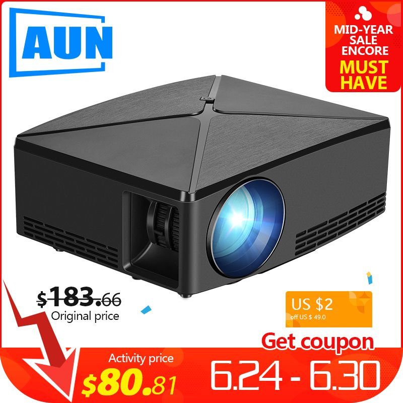 AUN MINI projecteur C80 UP, résolution 1280x720, Android WIFI Proyector, LED Portable HD 3D projecteur pour Home Cinema, optionnel C80