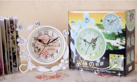 051307 Desk Clocks alarm table director crafts projection desktop digital vintage retro iron rural decoration mute