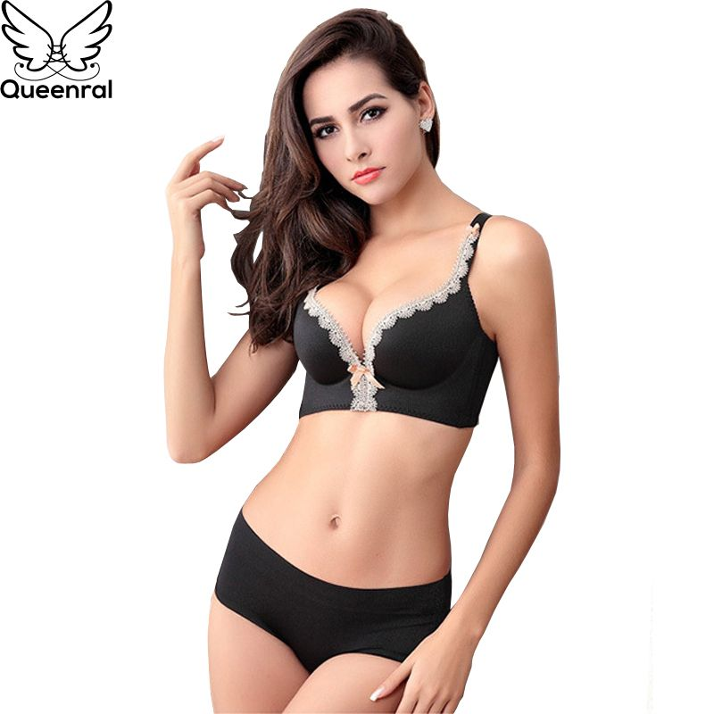 Queenral Seamless Underwear Set For Women Push Up ABC Cup Ladies Bra Set Comfortable Breathable Wire Free Brassiere Panties Set