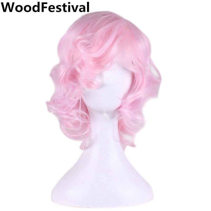 Woodfestival короткий розовый парик косплей волнистые Боб термостойкие синтетические парики волос для женщин реального изображения высокого Те...
