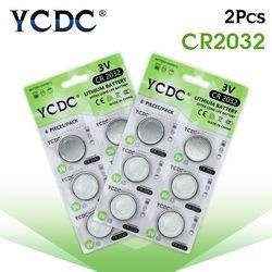 YCDC 12 PCS/2 cartes CR2032 DL2032 CR 2032 KCR2032 5004LC ECR2032 Bouton Pile Bouton 3 V Batterie Au Lithium pour Montre Podomètre LED Lumière