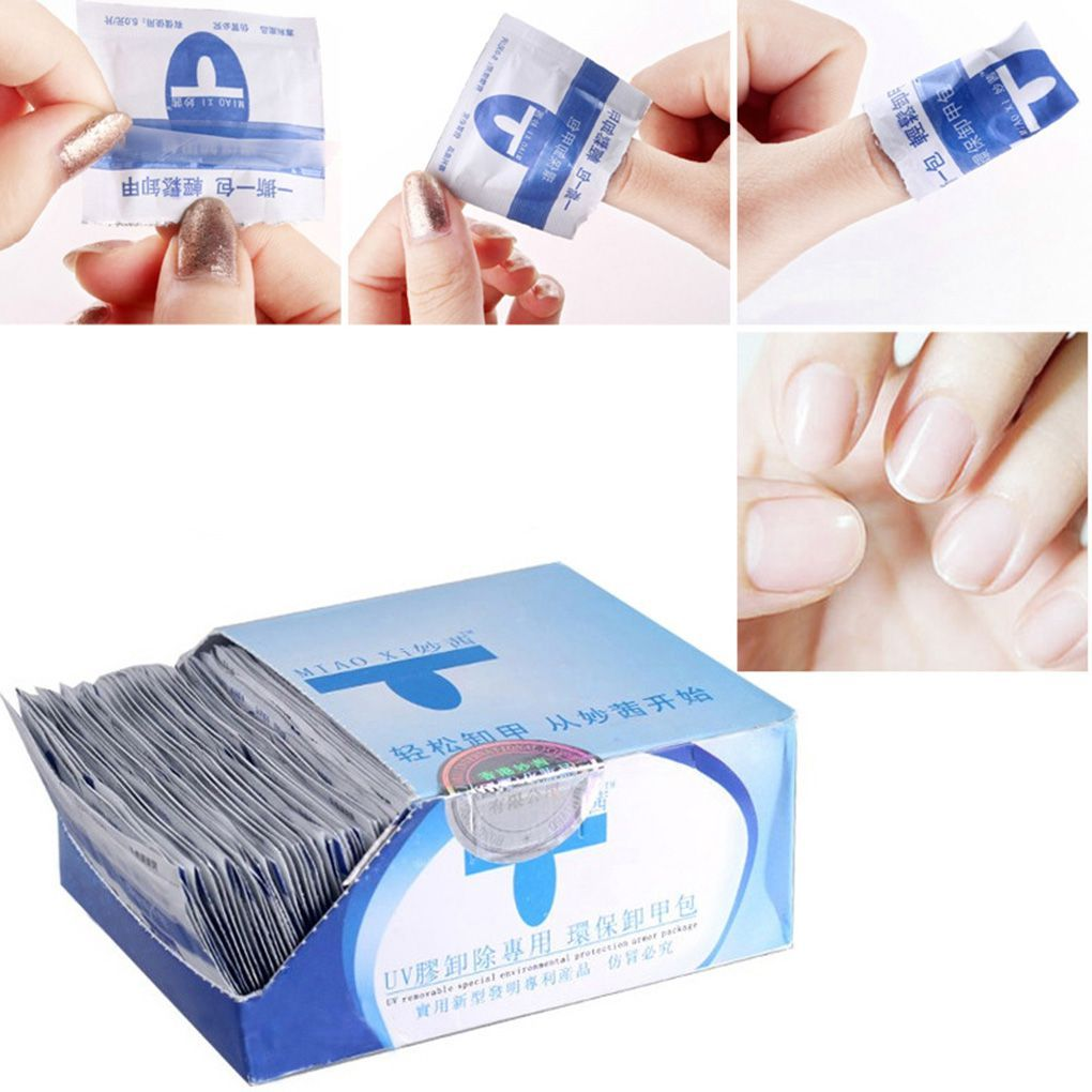 200pcs Inside Disposable Portable Nail Polish Remover Wipes Cotton Towel Manicure Tool