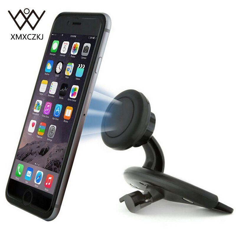 XMXCZKJ Universel CD Fente Magnétique support socle voiture pour iPhone 8 7 6 360 Degrés Aimant Mobile support pour téléphone Support de Support GPS