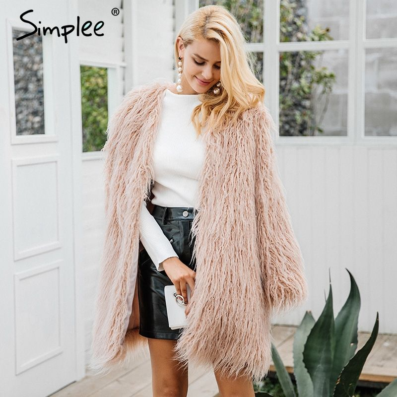 Simplee Fluffy long faux fur coat womens Winter fake fur streetwear pink coat female Fashion colored fur coats outerwear 2017