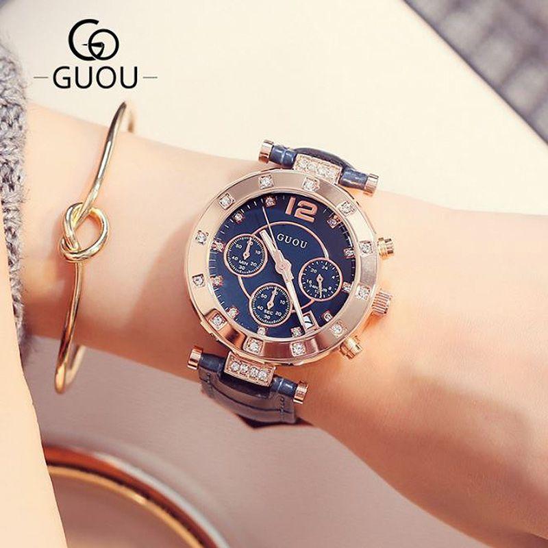 Women's Watches Ladies Watch Women Bracelet Watches For Women GUOU Wristwatch Calendar Clock Leather relogio feminino saat