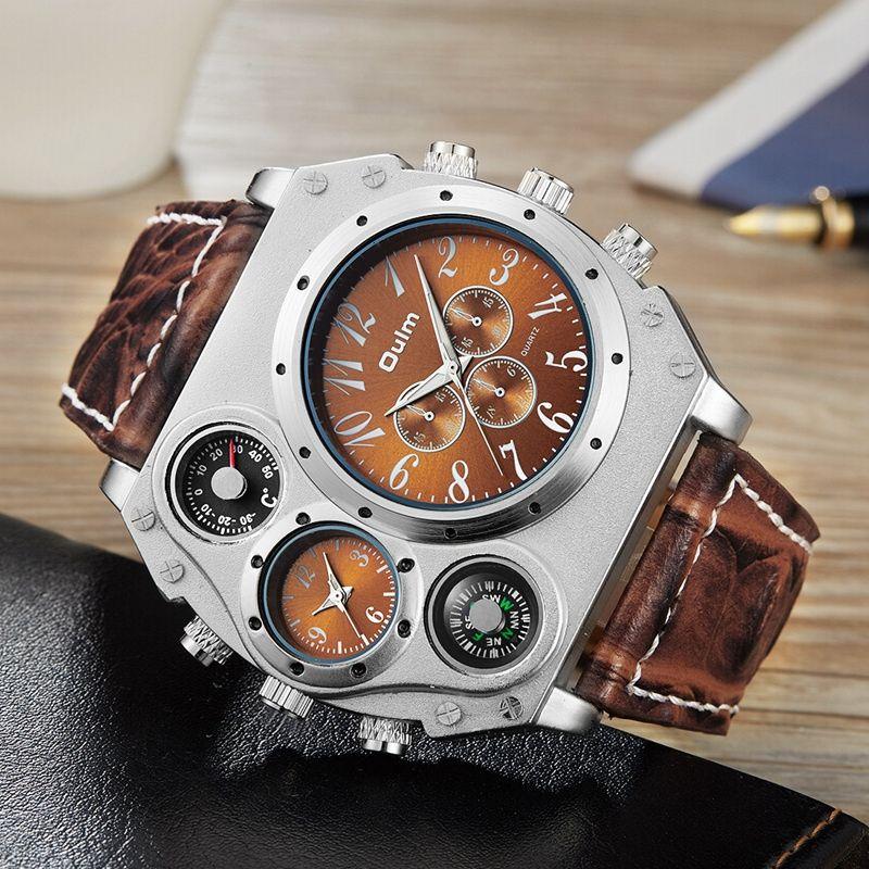 Nouveau Modèle OULM Montre Homme Quartz Sport Bracelet En Cuir Montres Unique Mâle Militaire Montre-Bracelet Grande Horloge À Quartz Relojes Hombre