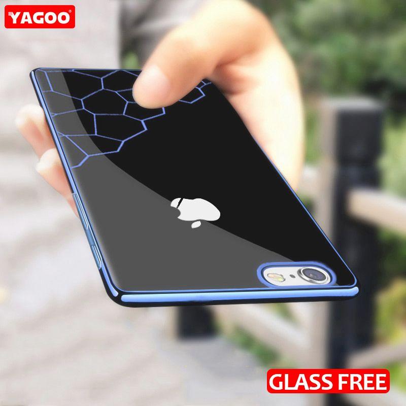 Pour iphone 6 s plus cas pour l'iphone 6 s cas silicone de luxe couverture arrière molle bleu rouge argent couleur brillant pour iphone6s cas yagoo