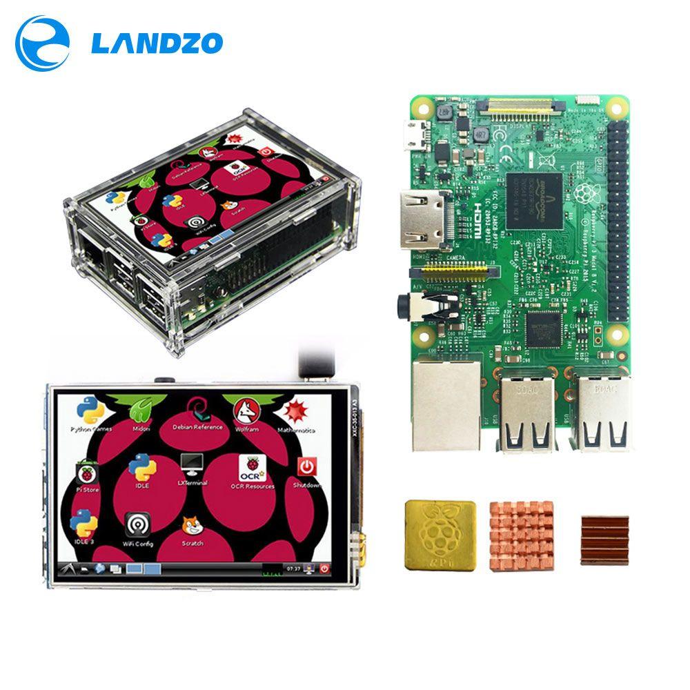 Raspberry Pi 3 Modèle B Conseil + 3.5 TFT Framboise Ip3 LCD Tactile écran D'affichage + Acrylique Cas + dissipateurs De Chaleur Pour Raspbery Pi 3 Kit