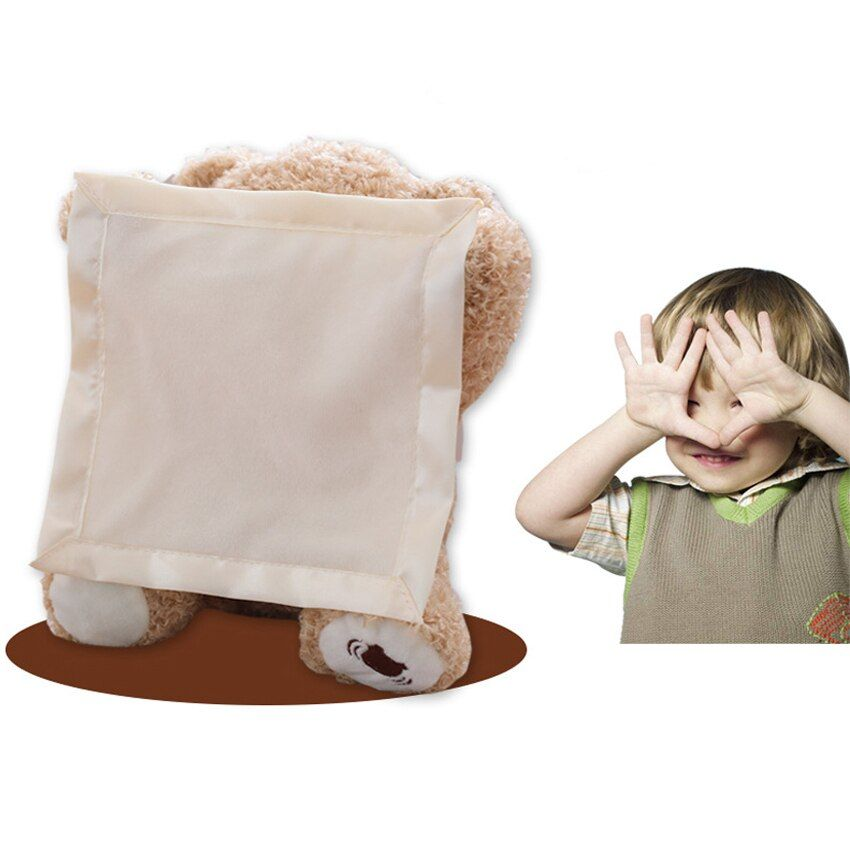 Cute Peek a Boo Teddy Bear Play Hide And Seek Lovely Cartoon Stuffed Animal Bear Kids Birthday Gift Music Bear Plush Toy Doll