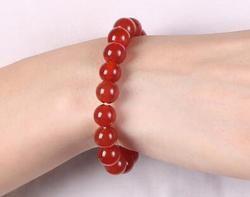 Naturel agate rouge bracelet garçon amant agate bijoux unique anneau main perle.