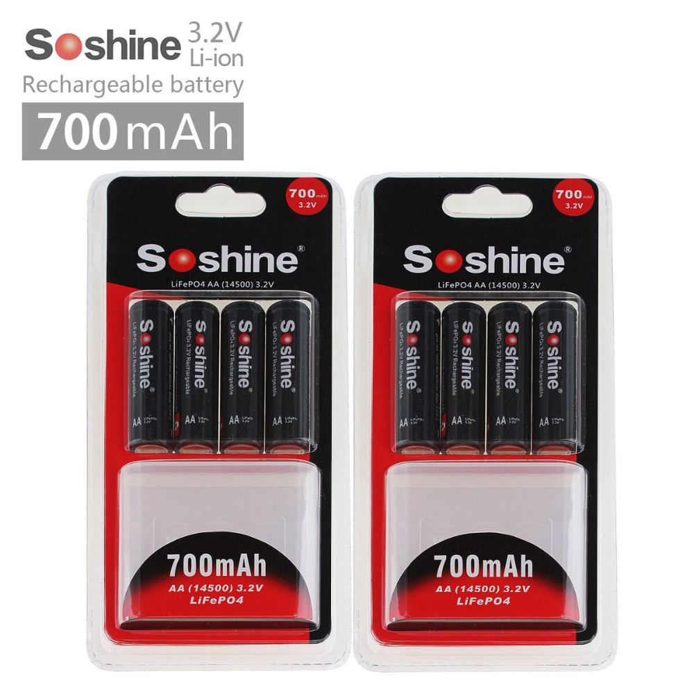 8pcs Soshine AA 14500 3.2V 700mAh <font><b>LiFePO4</b></font> Rechargeable Battey + 2pcs Battery Case + 4pcs battery connectors