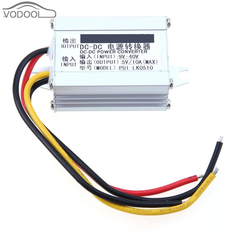 Aluminum Shell Car DC-DC Power Converter 9V-40V to 5V 10A Max Vehicle Charger Power Supply Inverter Step Down Buck Module
