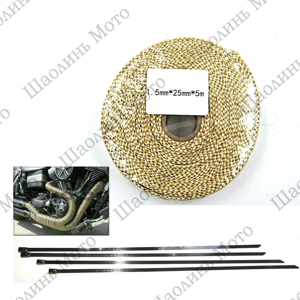 1X Beige CAR MOTORCYCLE Incombustible Turbo MANIFOLD HEAT EXHAUST THERMAL WRAP TAPE & STAINLESS TIES 1.5mm*25mm*5m FREE SHIPPING