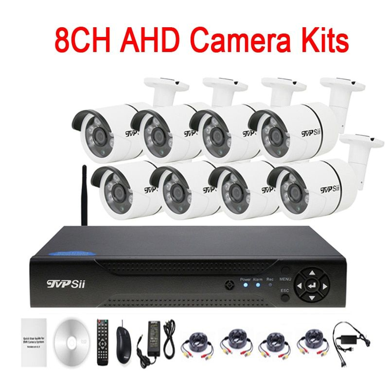 Six Array infrared Led 5mp/4mp/2mp/1mp Waterproof 8CH 8 Channel WIFI AHD CCTV Surveillance Camera DVR Kits Free Shipping