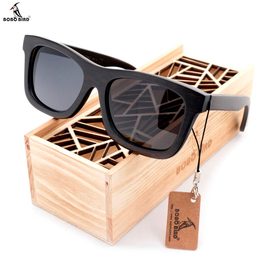 BOBO BIRD Premium Natural Frames Original Wooden Casual Polarized <font><b>Lens</b></font> Sunglasses Men and Women With Gift Box