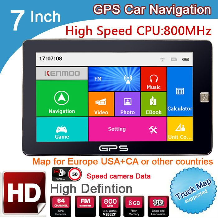New 7 inch HD Car GPS Navigation 800M/ FM/8GB/DDR3 2018 Maps For Russia/Belarus/ Europe/USA+Canada TRUCK Navi Camper Caravan