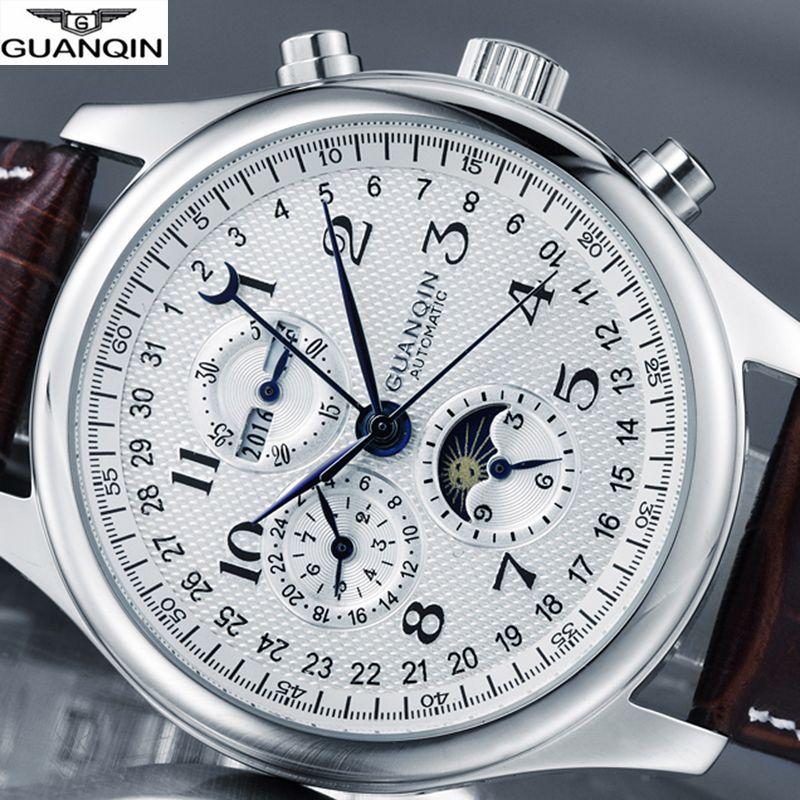 GUANQIN Marke Uhr Männer Luxus Automatische Uhr Mechanische Wasserdichte Uhr Männer Leder Handgelenk uhren Relogio Masculino