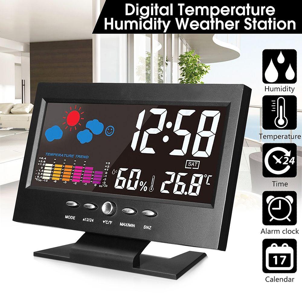 Électronique Numérique LCD Horloge De Bureau Température Humidité Moniteur Horloge Thermomètre Hygromètre Prévisions Météo Horloge de Table