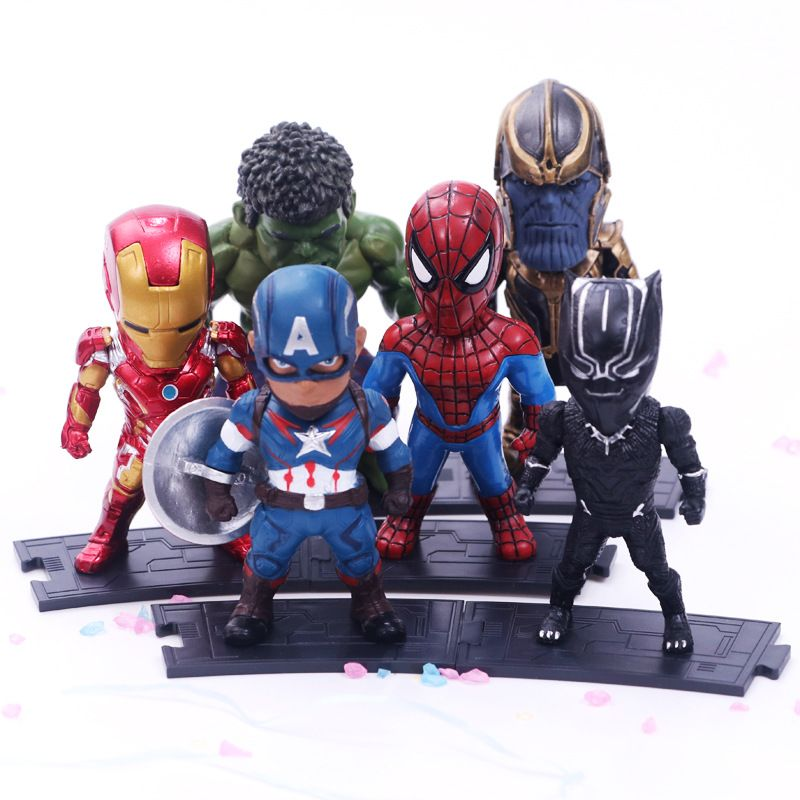 6 pièces/ensemble Marvel Avengers: Infinity War Thanos Ironman Spiderman Captain American Hulk Black Panther Figure modèle jouets