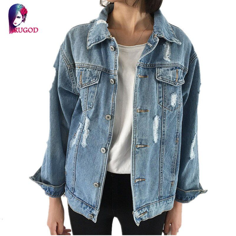 Rugod Jeans Jacket Women Casacos Feminino Slim Ripped Holes Denim Jacket Femme Elegant Vintage Bomber Jacket 2017 Basic Coats