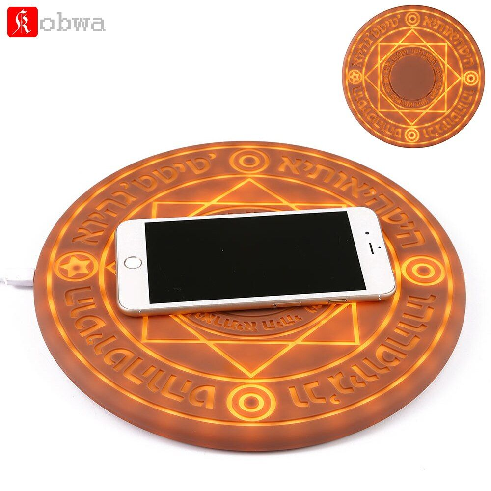 KOBWA Glowing Magic Array Wireless Charger Universal 5W 10W Qi Wireless Fast Charger Change Stand pad for iPhone Samsung Huawei