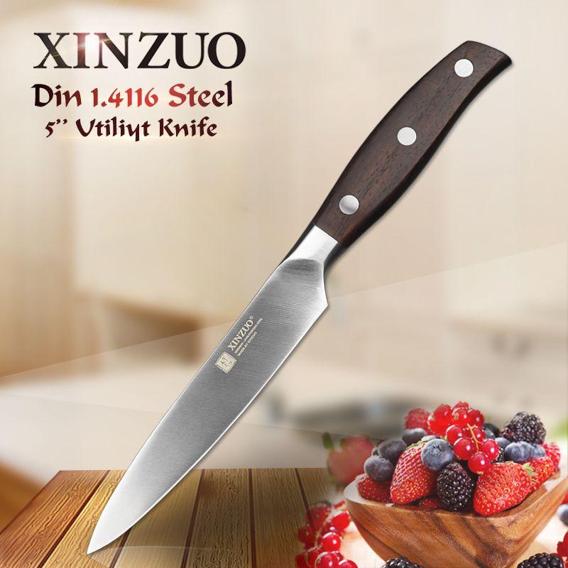 XINZUO 5 ''pouces couteau utilitaire allemand DIN1.4116 couteau de cuisine en acier palissandre poignée épluchage légumes couteaux de cuisine outils de cuisine