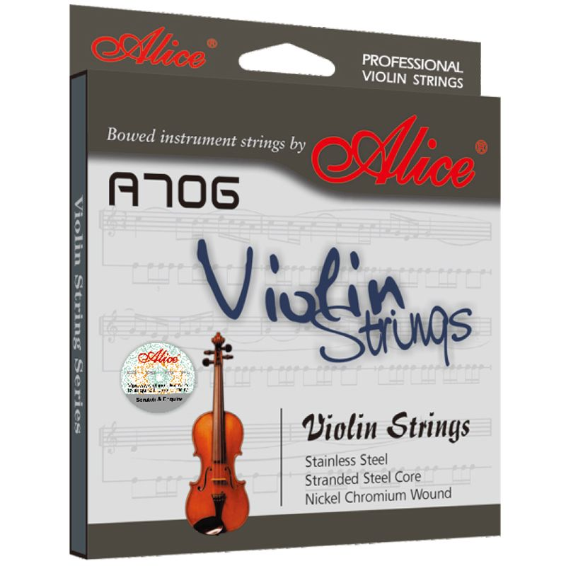 1 Set Original Alice Professional Violin Strings Stainless Steel Nickel Chromium Wound Nickel-Plated Ball-End A706
