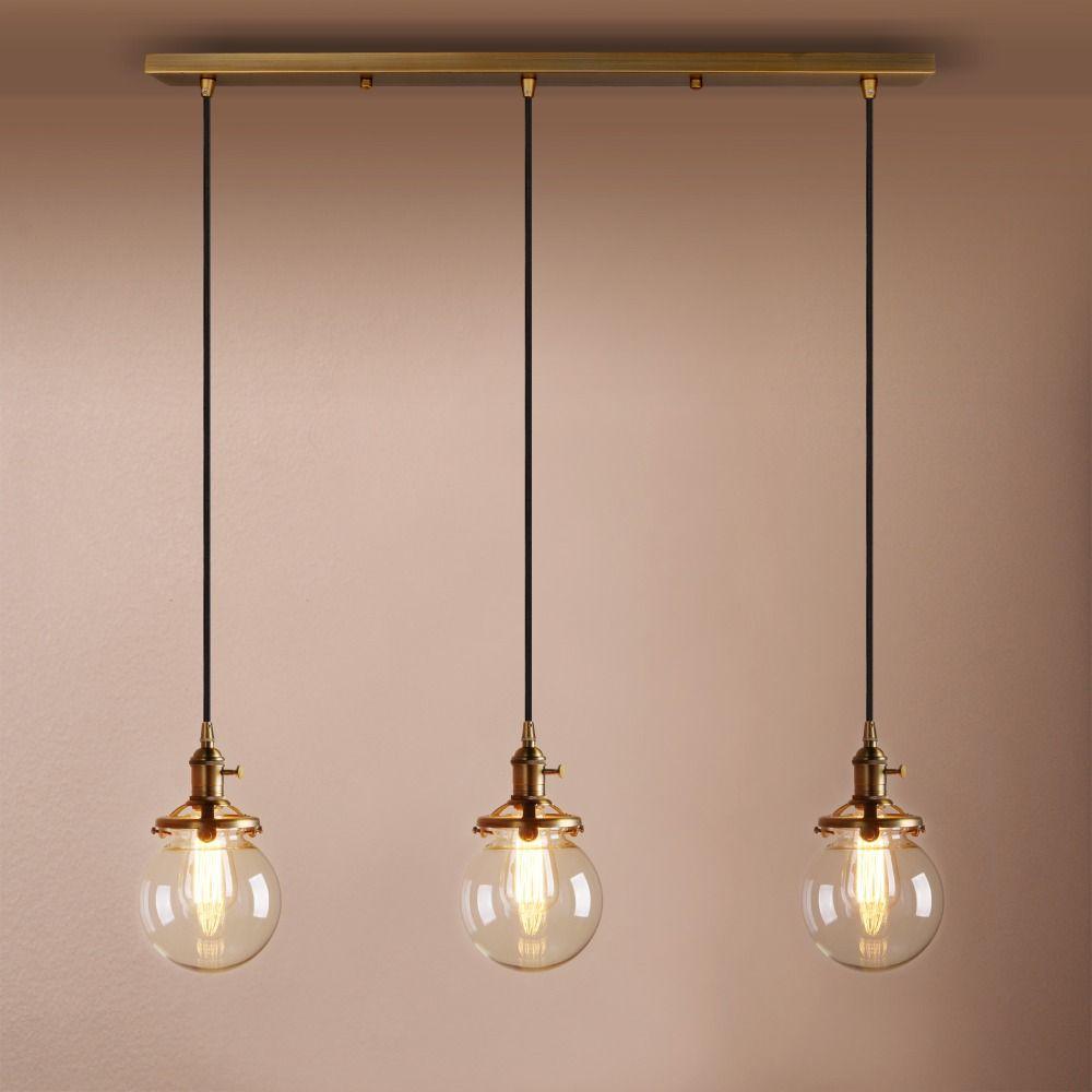 Modern New Three Heads E27 Pendant Lights Globe Glass Luminaire Pendant Lamp Glass Lampshade Hang lamp Light Home Bar Decoration