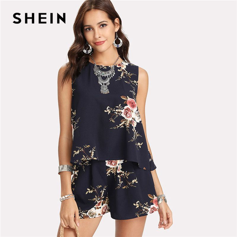 SHEIN Floral Print Overlap Back Top & Shorts Set Women Round Neck Sleeveless <font><b>Button</b></font> 2 Pieces Sets 2018 Summer Boho Twopiece