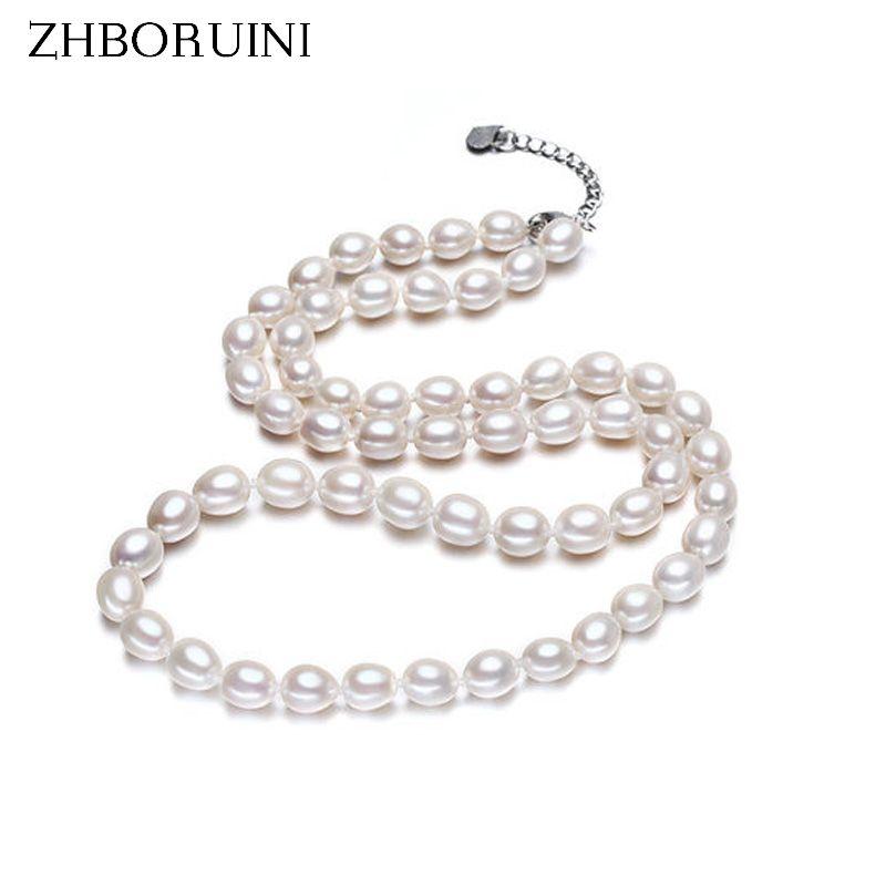 ZHBORUINI collier de mode bijoux en perles d'eau douce naturelle collier ras du cou blanc 925 collier en argent Sterling pour les femmes