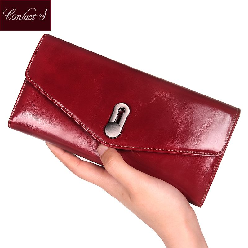 Genuine Leather Women Wallets Clutch Luxury Brand Female Passport Purse Long Design High Capacity Cell Phone Pocket Card Holder